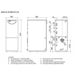 Medidas - Caldera de gasoil SIME AQUA 35 ERP inox
