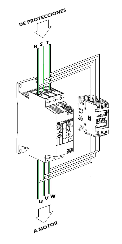 Conexión con contactor bypass arrancado