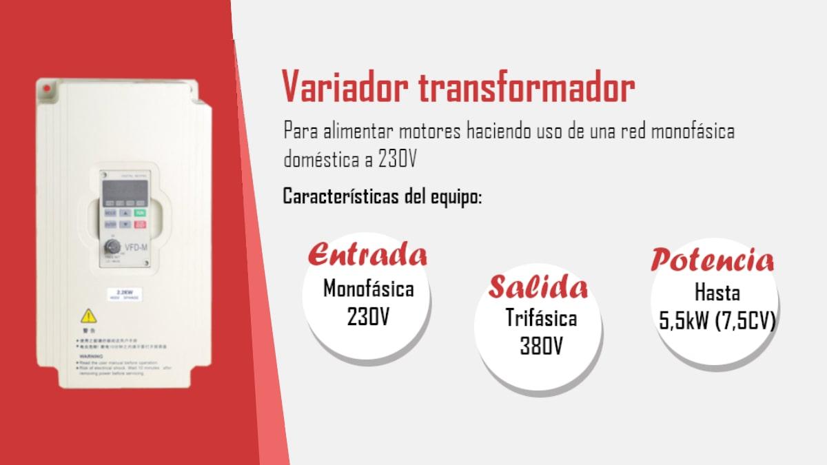 Variador transformador monofásico a trifásico 380V – Infografía