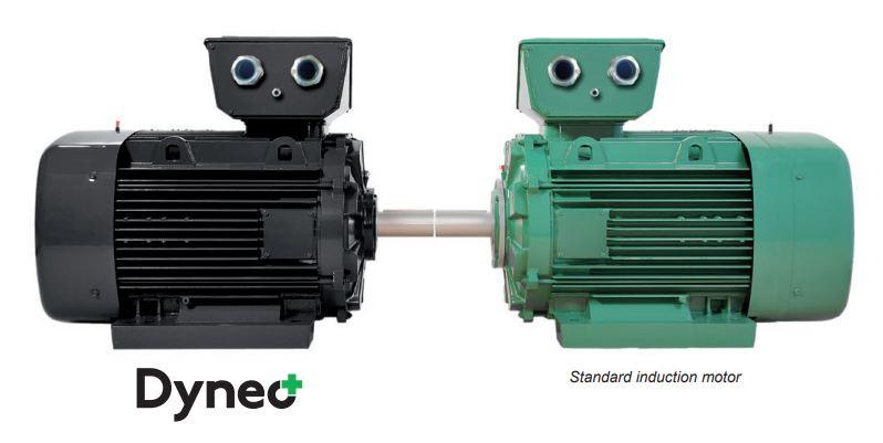Comparación tamaño motores síncronos Dyneo+ y motores de inducción