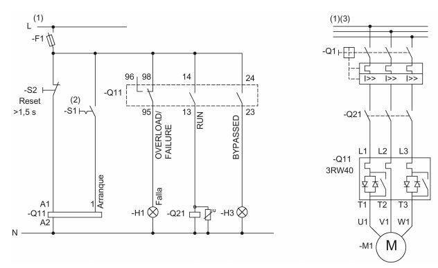 Arrancador suave 3RW40 con contactor de línea