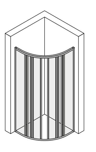 Mampara ducha esquinera semicircular 75cm Canova