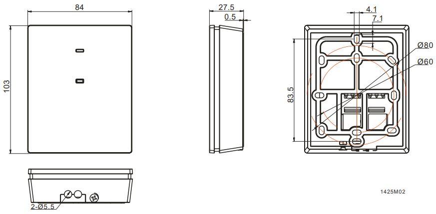 Cronotermostato Siemens RDE100.1 RFS medidas emisor