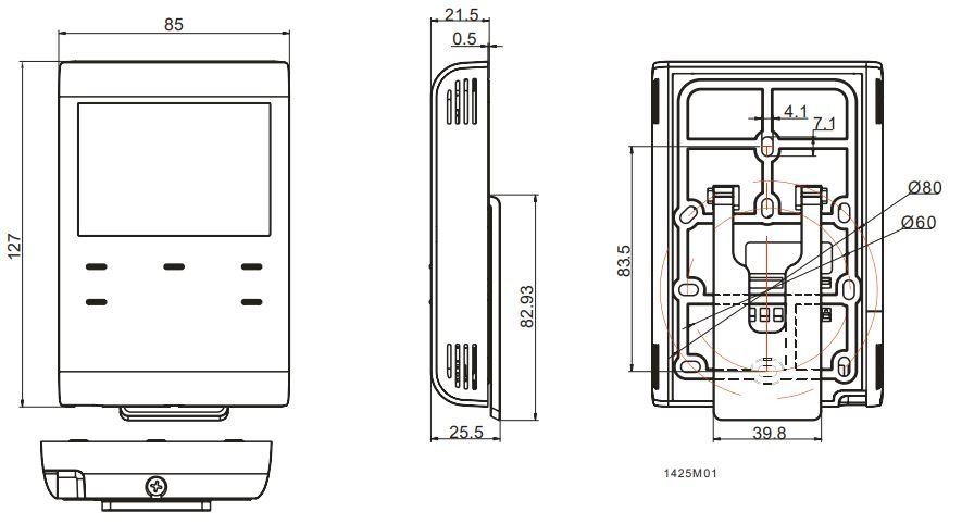 Cronotermostato Siemens RDE100.1 RFS medidas receptor